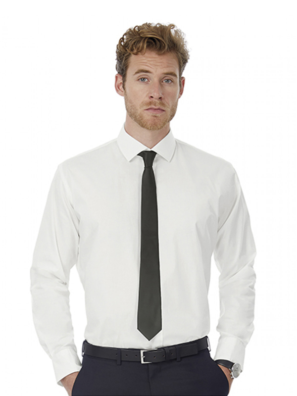 Image of B&C BLACK TIE LSL MENS SHIRT